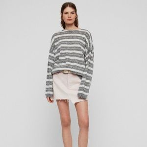 All Saints Gray White Striped Cassia Sweater